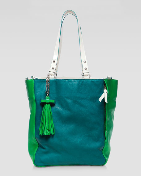 Colorblock Leather Tote Bag