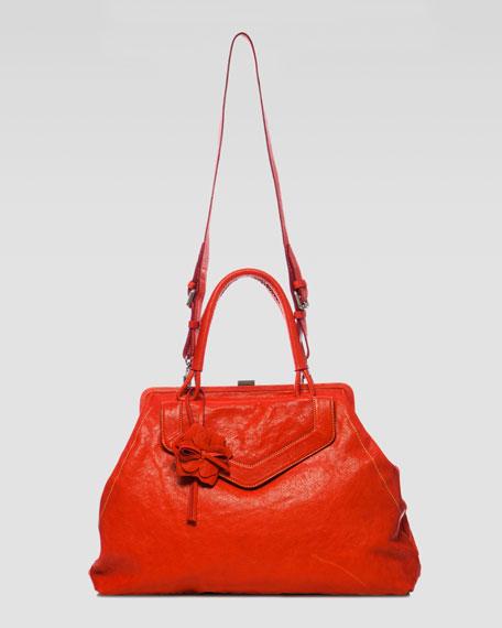 Oversize Framed Rosette Satchel Bag
