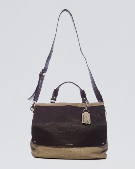 Fold-Over Flap-Top Satchel Bag