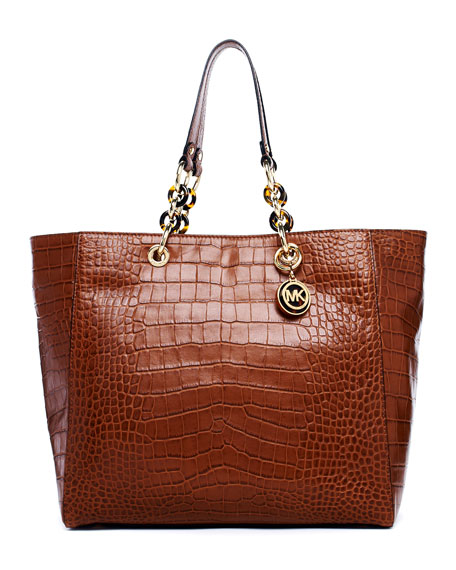 Cynthia Large Crocodile-Embossed Leather Tote Bag, Barley