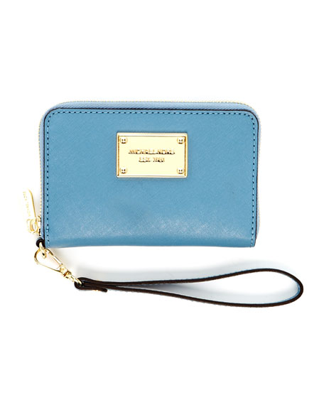 iPhone Saffiano Leather Zip Wallet, Surf Blue