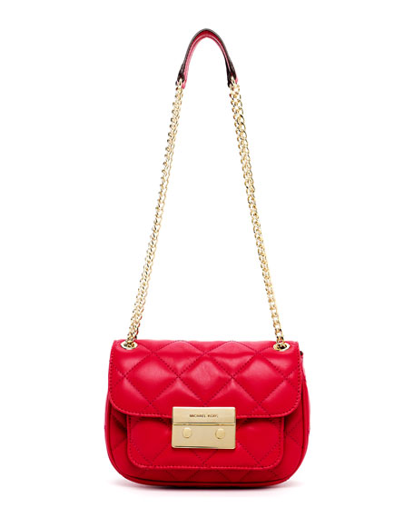 Sloan Small Quilted Shoulder Bag, Lacquer Pink