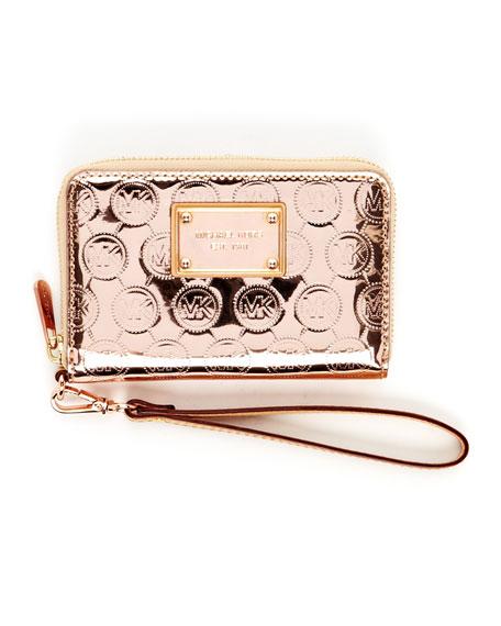 iPhone Monogram Mirror Leather Zip Wallet, Rose Gold