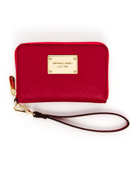 iPhone Saffiano Leather Zip Wallet, Lacquer Pink or Black