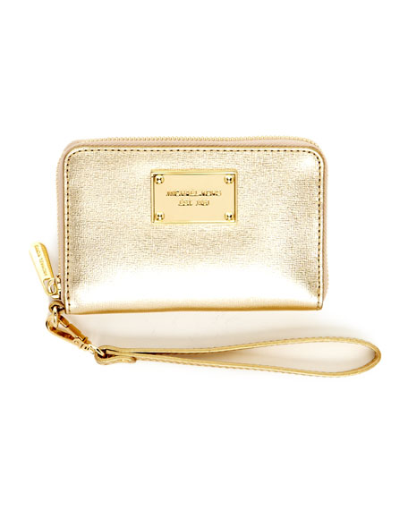 iPhone Mirror Leather Zip Wallet, Pale Gold