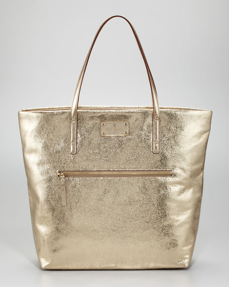flicker bon metallic shopper tote