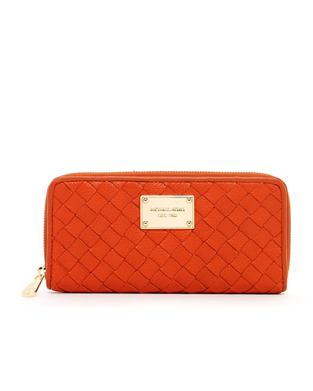 Jet Set Woven-Leather Continental Wallet, Persimmon