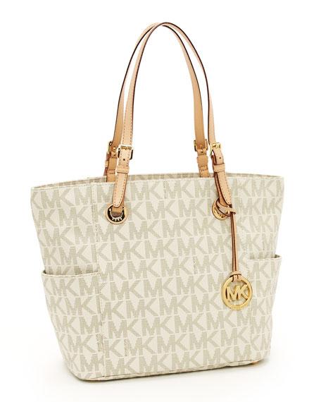 Logo-Print Signature Tote Bag, Vanilla
