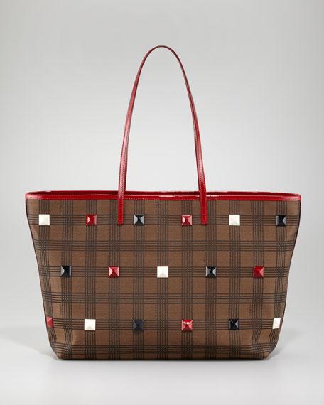 Studded Plaid Roll Bag