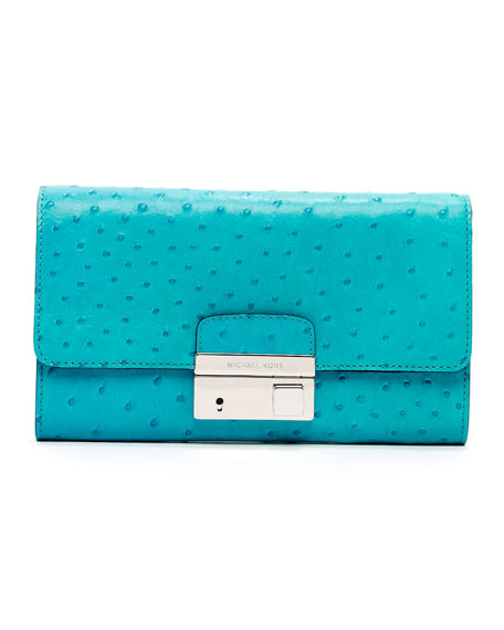 Gia Ostrich-Embossed Leather Clutch Bag, Turquoise