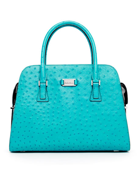 Gia Ostrich-Embossed Leather Satchel Bag