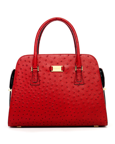 Gia Ostrich-Embossed Satchel Bag, Crimson