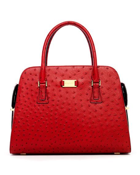 Michael Kors Gia Ostrich-Embossed Satchel Bag, Crimson