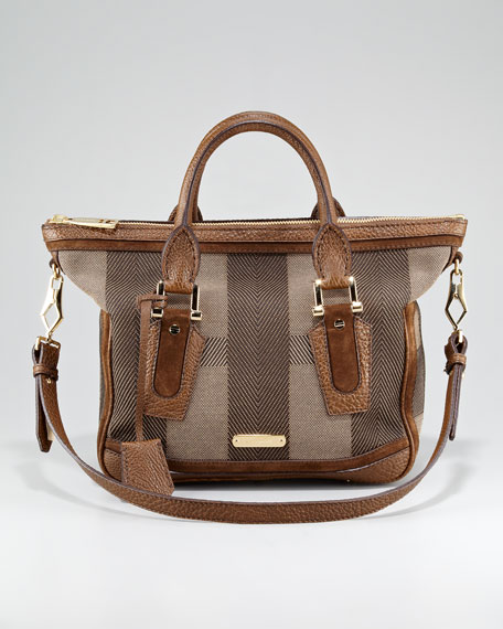Check Canvas Satchel Bag, Small