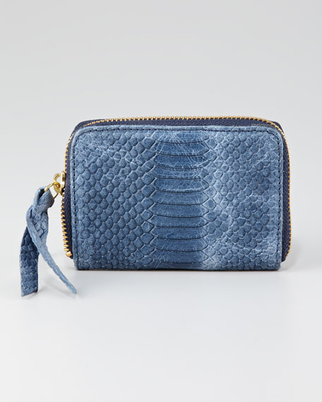 Snake-Embossed Coin Wallet, Blue