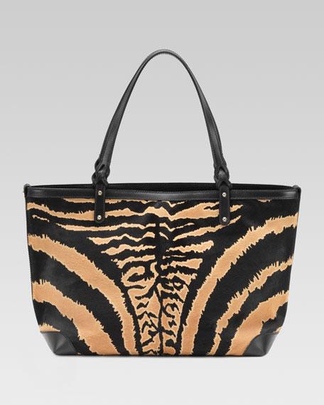 Medium Gucci Craft Tote Bag, Black/Caramel