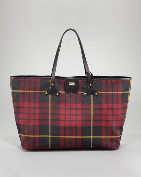 McQ Alexander McQueenPlaid Canvas Tote Bag