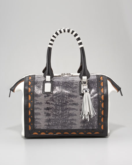 Whipstitch-Trim Snakeskin Satchel Bag