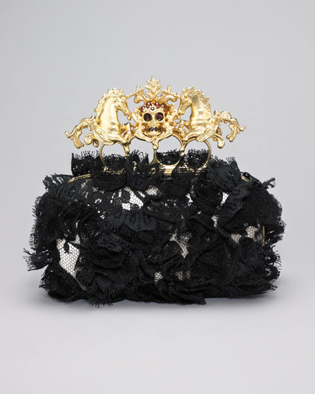 Lace Unicorn & Skull-Clasp Clutch Bag