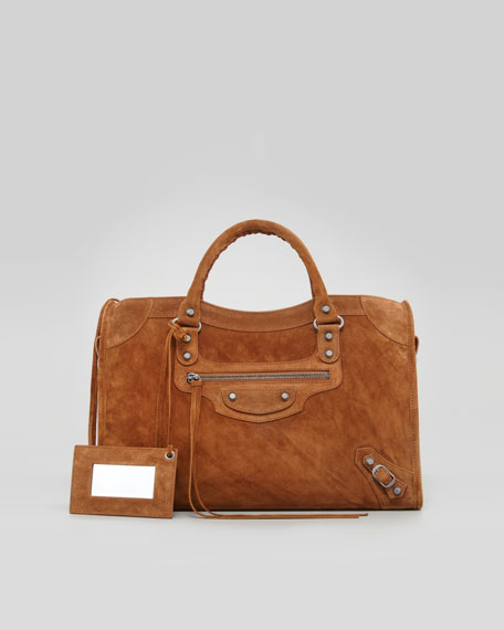Baby Daim Suede Classic City Bag, Chestnut