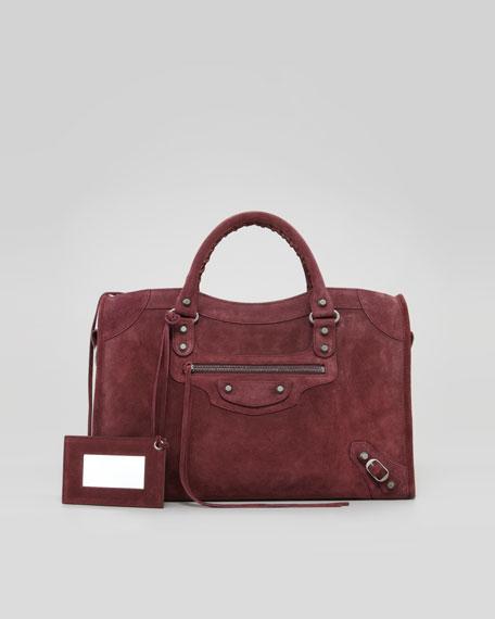 Baby Daim Suede Classic City Bag, Bordeaux