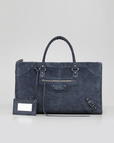 Baby Daim Suede Classic Work Bag, Arctic Blue