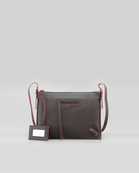 Papier Leather Crossbody Bag, Gray/Pink