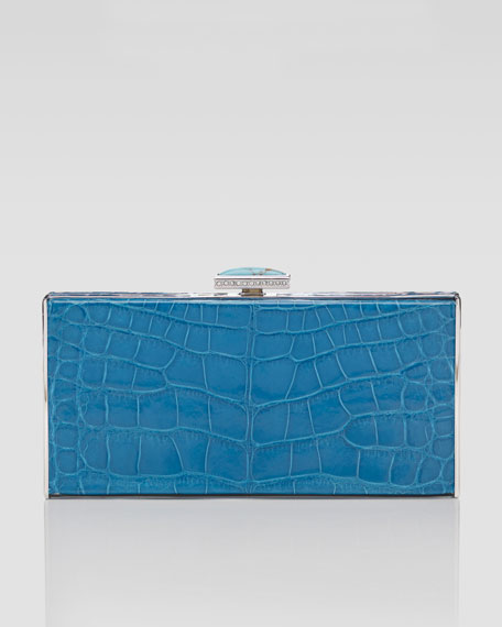East-West Rectangle Clutch Bag, Cobalt