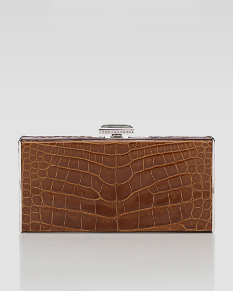 East-West Rectangle Clutch Bag, Walnut