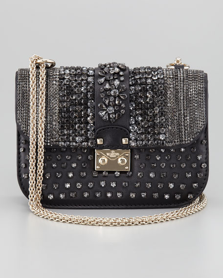 Glam Crystal-Covered Lock Crossbody Bag