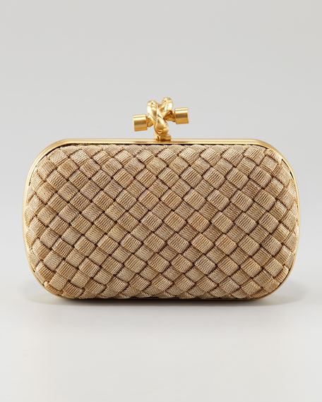 Matte Gold Knot Clutch Bag