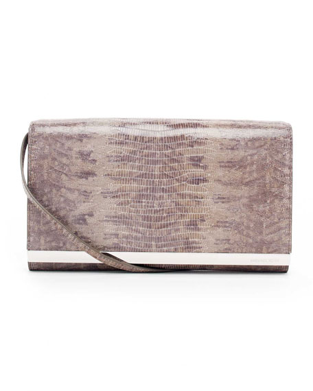 Tilda Large Lizard-Embossed Clutch Bag