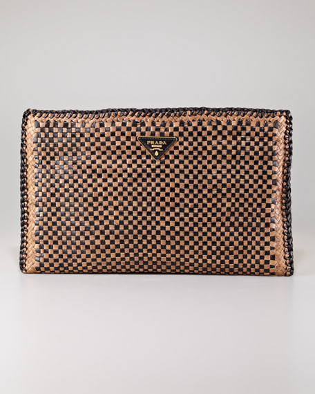 prada bag fringe - Prada Madras Leather Clutch Bag