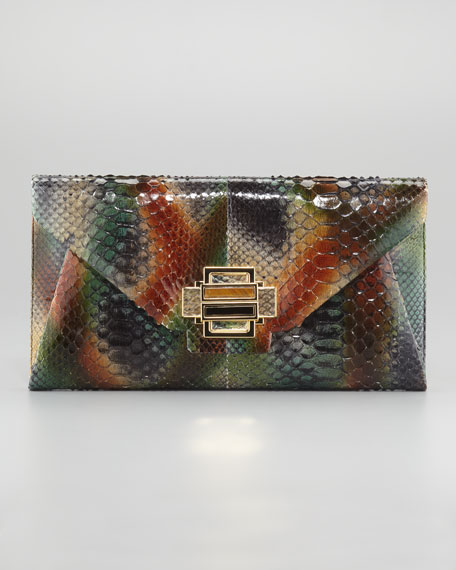 Electra Python Clutch Bag, Medium