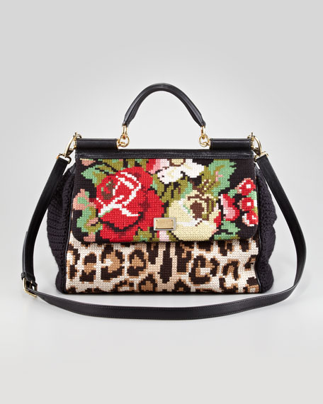 Mixed Tapestry Miss Sicily Satchel Bag