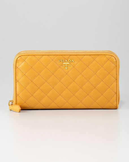 Quilted Saffiano Zip-Around Wallet