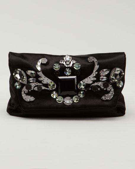 Jeweled Satin Clutch Bag