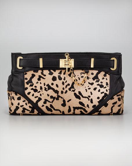Zoe Calf-Hair Clutch Bag