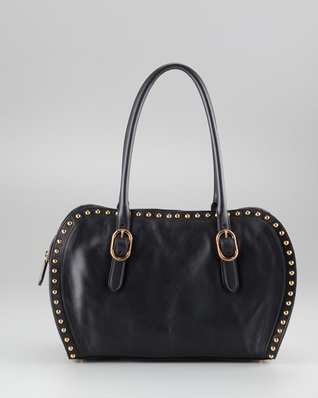 Queen Studded Satchel Bag, Small