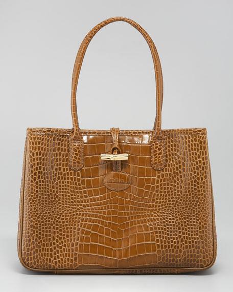 Roseau Crocodile-Embossed Tote Bag