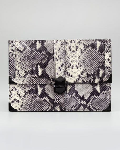 Snake-Print Blair Clutch