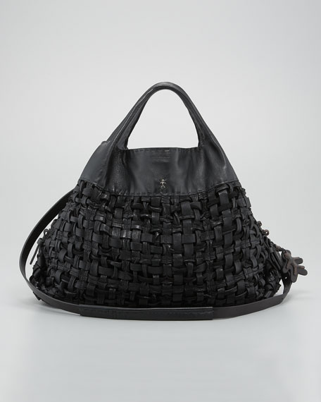 Basketweave Leather Tote Bag