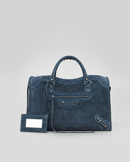 Baby Daim Suede Classic City Bag, Blue Royale
