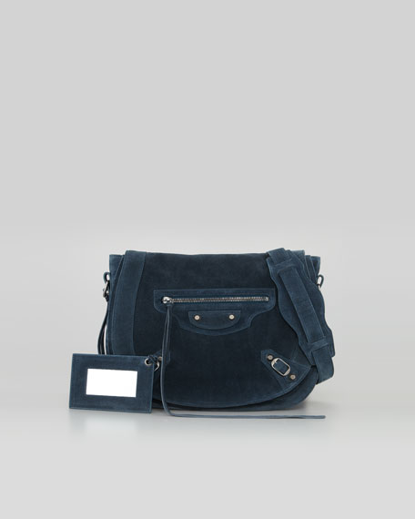 Classic Neo Folk Baby Daim Suede Bag, Bleu Royal
