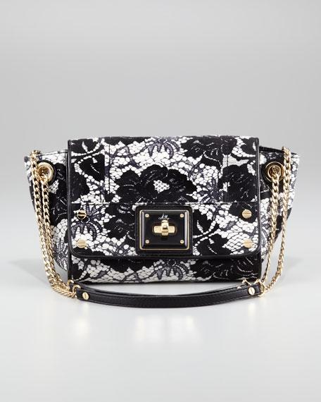 Lace-Print Flap Shoulder Bag, Small