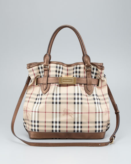 Belted Check Tote Bag