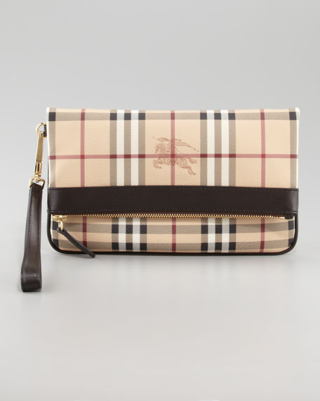 Leather-Trim Check Wristlet