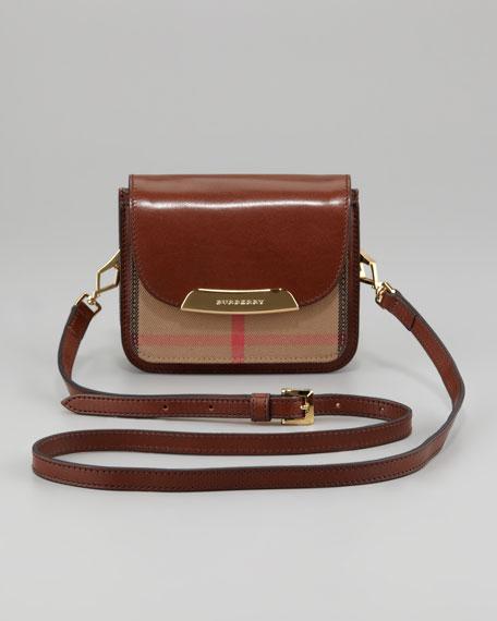 Check Small Crossbody Bag, Dark Tan