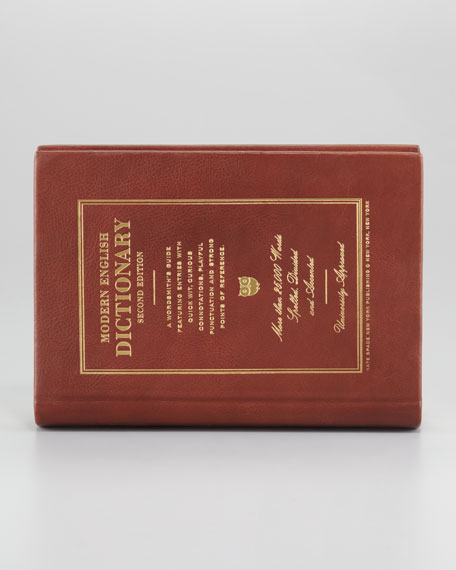 wordsmith dictionary leather-bound book clutch