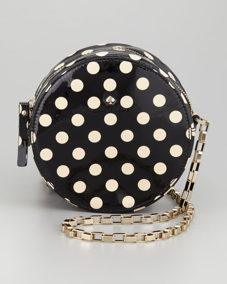 normandy park dot round bag, black/beige
